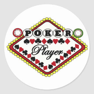 Poker-Spieler Runde Aufkleber