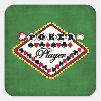 Poker-Spieler Quadrat-Aufkleber