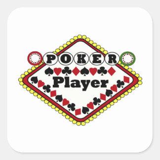 Poker-Spieler Quadrataufkleber