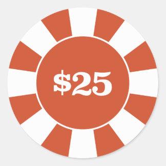 Poker-Untersetzer 25 Runder Aufkleber