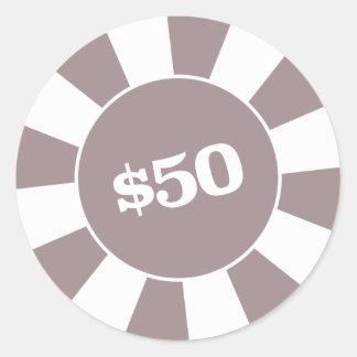 Poker-Untersetzer 50 Runder Aufkleber