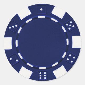 pokerchip Aufkleberblau Runder Aufkleber