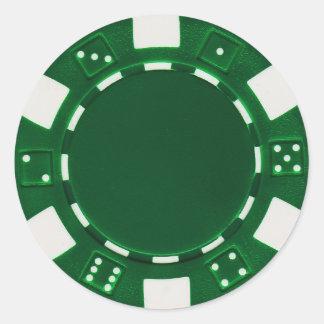 pokerchip Aufklebergrün Runder Aufkleber