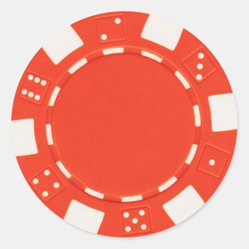 pokerchip Aufkleberorange Runde Sticker