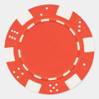 pokerchip Aufkleberorange Runder Aufkleber