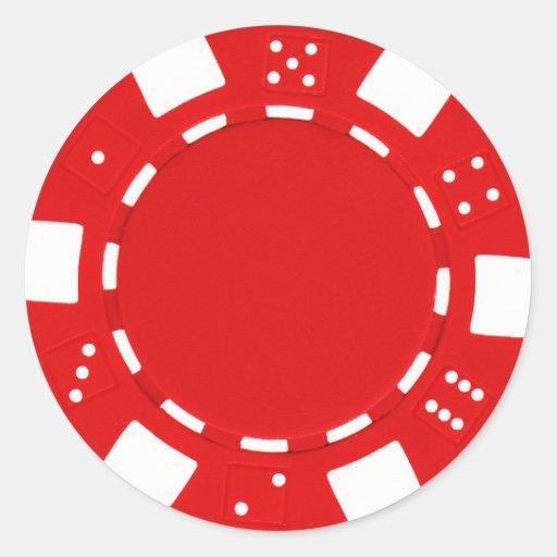 pokerchip Aufkleberrot Runder Aufkleber