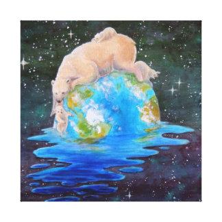 Polare Bärn-globale Erwärmungs-Leinwand Leinwand Druck