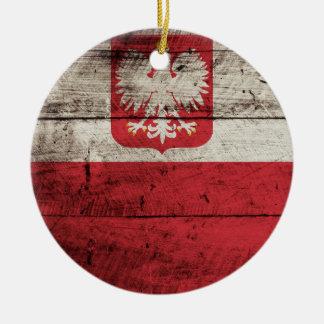 Polen-Flagge auf altem hölzernem Korn Rundes Keramik Ornament