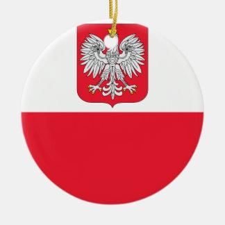Polen-Flagge Rundes Keramik Ornament