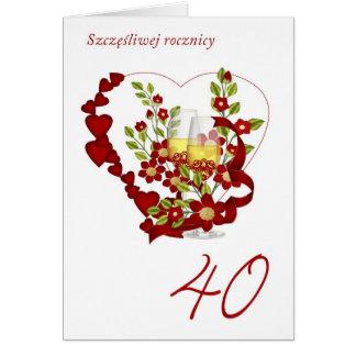 Polieren Sie 40. Hochzeitstag mit Champagne Karte