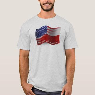 Politur-Amerikanische wellenartig bewegende Flagge T-Shirt
