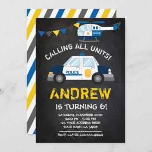 Polizei-Geburtstags-Einladung, Tafelhintergrund Einladung
