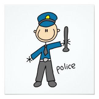 Polizei-Offizier-Strichmännchen Quadratische 13,3 Cm Einladungskarte