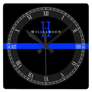 Polizei verdünnt Blue Line-Gewohnheits-Monogramm Quadratische Wanduhr