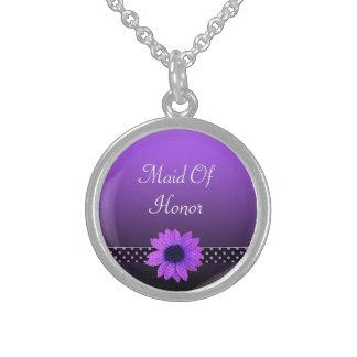 Polka-Punkt-Gänseblümchen-lila Hochzeit Sterling Silberkette