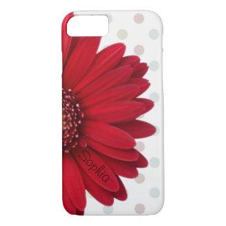 Polka-Punkt-roter Gänseblümchen-individueller Name iPhone 8/7 Hülle