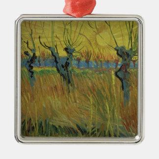 Pollarded Weiden Vincent van Goghs  , untergehende Quadratisches Silberfarbenes Ornament