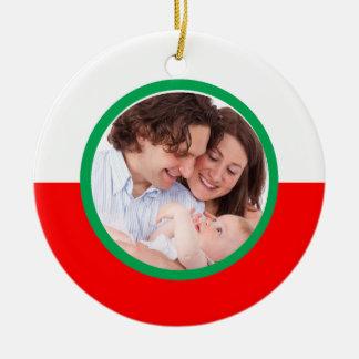 Polnische Flaggen-Familien-kundenspezifische Rundes Keramik Ornament
