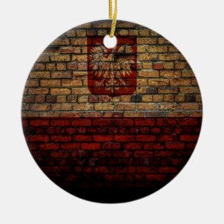 Polnischer Polen-Flaggen-Backsteinmauer-Entwurf Rundes Keramik Ornament