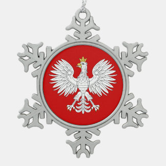 Polnisches Eagle Schneeflocken Zinn-Ornament