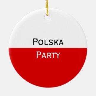 Polska polnische Flagge Rundes Keramik Ornament