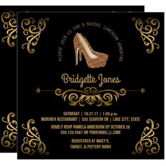 Polterabend des Brautmittagessen-eleganter Gold| Quadratische 13,3 Cm Einladungskarte