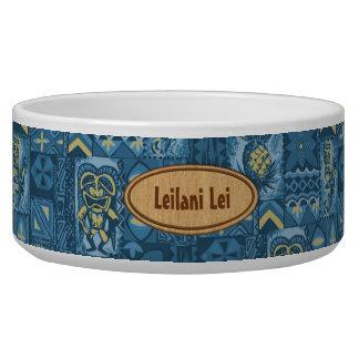 Pomaika'i Tiki hawaiischer Vintager Tapa Hundenapf