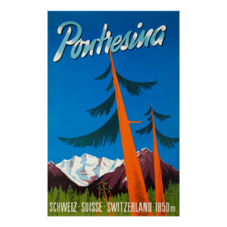 Pontresina die Schweiz Vintages Reise-Plakat Poster