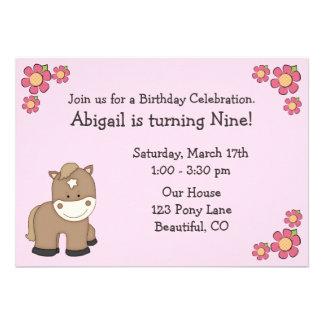 Pony-Geburtstags-Einladungen für Mädchen