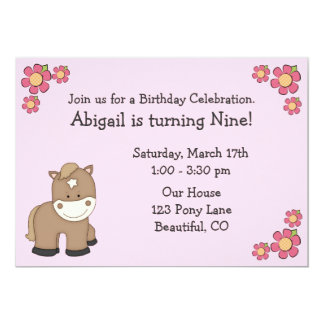 Pony-Geburtstags-Einladungen für Mädchen 12,7 X 17,8 Cm Einladungskarte