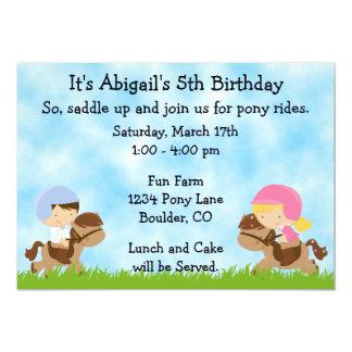 Pony-Party-Geburtstags-Einladungen für Mädchen und 12,7 X 17,8 Cm Einladungskarte