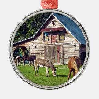Ponys auf dem Bauernhof Rundes Silberfarbenes Ornament