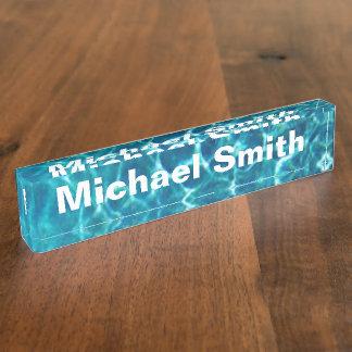 Pool-cooles blaues Wasser Namensplakette