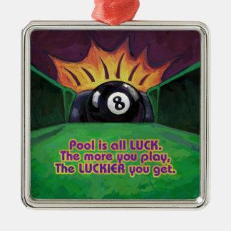 Pool ist Glück Silbernes Ornament