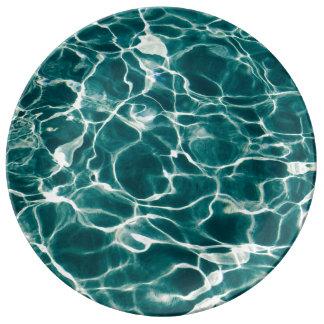 Poolwassermuster Porzellanteller