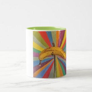 Pop-Kunst-Bananen-Tasse Zweifarbige Tasse