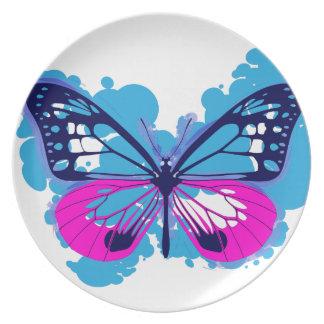 Pop-Kunst-blaue Drosselklappe Teller