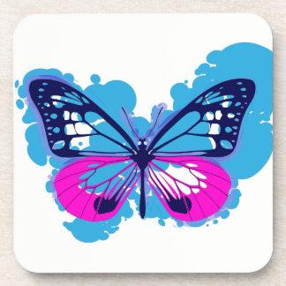 Pop-Kunst-blaue Schmetterlings-Untersetzer Getränkeuntersetzer
