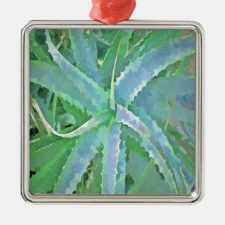 Pop-Kunst-graue grüne Aloe Quadratisches Silberfarbenes Ornament