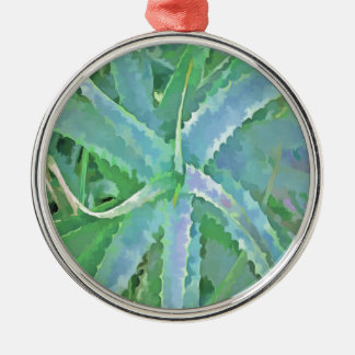 Pop-Kunst-graue grüne Aloe Rundes Silberfarbenes Ornament