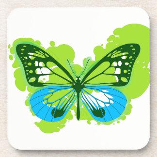 Pop-Kunst-Grün-Schmetterlings-Untersetzer Untersetzer