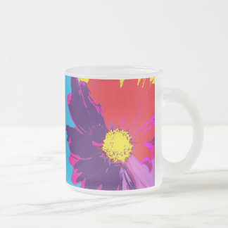 Pop KUNST Mod-FarbPop-Blumen-Bier-Tasse Matte Glastasse