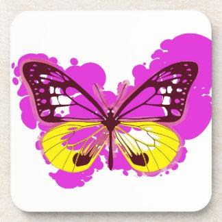 Pop-Kunst-Rosa-Schmetterlings-Untersetzer Untersetzer