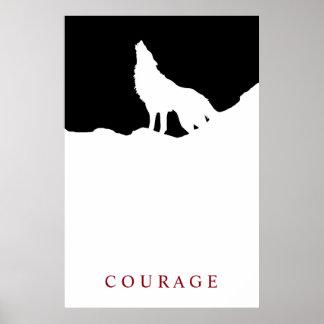 Pop-Kunst-schwarzer u. weißer motivierend Mut-Wolf Poster