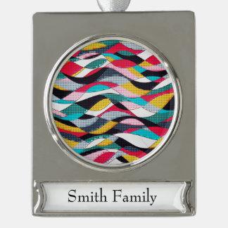 Pop-Kunst-Welle Banner-Ornament Silber
