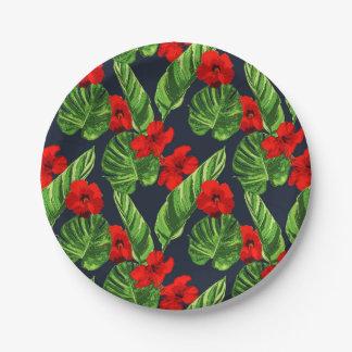 Pop-tropisches Blätter-nahtlose Muster-Reihe 3 Pappteller