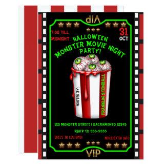 Popcorn schaut Halloween-Schrecken-Nachtfilm an 12,7 X 17,8 Cm Einladungskarte