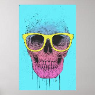 Popkunstschädel mit Gläsern Poster