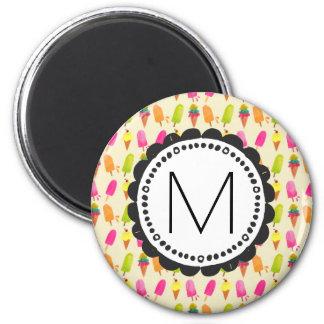 Popsicles und Eiscreme-personalisiertes Monogramm Runder Magnet 5,7 Cm
