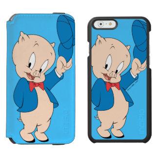 Porky wellenartig bewegender Hut des Schwein-| Incipio Watson™ iPhone 6 Geldbörsen Hülle